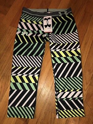 Girls Under Armour Heatgear Yoga Leggings Pants Black Green Size Youth Large NWT