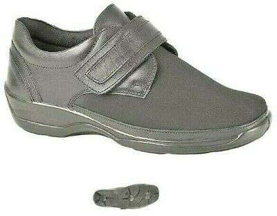 Ladies Leather Black Extra EEE Wide orthopedic Stretch Comfort Shoes size 3-8 UK