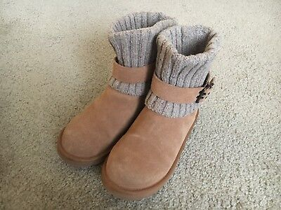 f8c628b282d UGG AUSTRALIA CAMBRIDGE Womens Sz 10 Brown Knit Sweater Buckle Boots ...