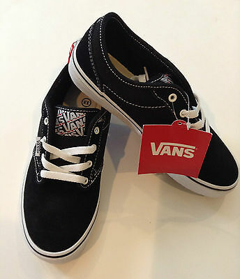 New Vans Youth Vans Atwood Skate Sneakers Shoe Black White Canvas Suede Lace c518db277