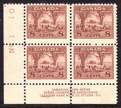 CANADA #256 8c RED BROWN, 1942 KGVI LL PLATE-1 BLOCK, F, OG-NH