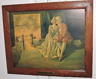 Antique 'SPARKING' Lovers COUPLE by FIRE Oak Frame Alfred James DEWEYc1900s
