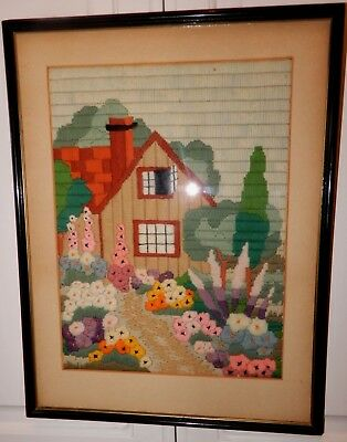 Vintage ART DECO English Cottage GARDEN Crewel Embroidery Flowers Picture c1930s