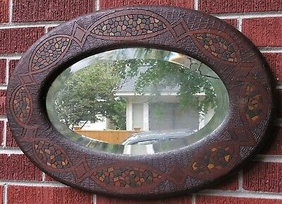 Antique ARTS & CRAFTS Scottish McIntosh Style Carved PAINTED Oval Mirror c1900s