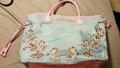 2b927d90523a Ed hardy Womens Blue Pink Red Flowers Design Large Tote Bag Shopper Purse
