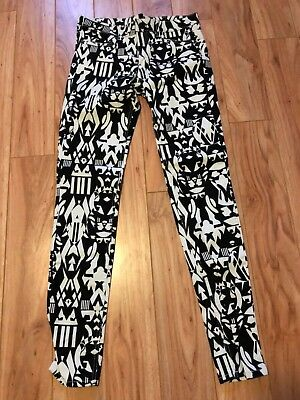 Divided Brand Women's Jeans Size 8 Black/White Color Geometric Pattern Skinny