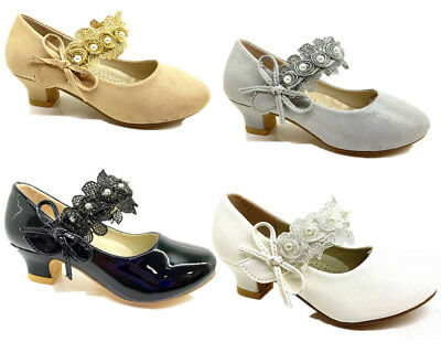 Girls kids childrens low heel party wedding mary jane sandals court shoes size