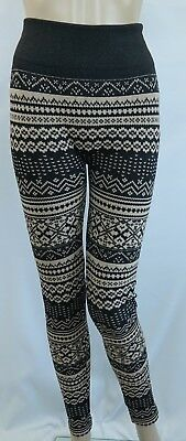 30aa173f5950f1 EYE CANDY fleece lined black/beige printed footless leggings/ pants, size XL