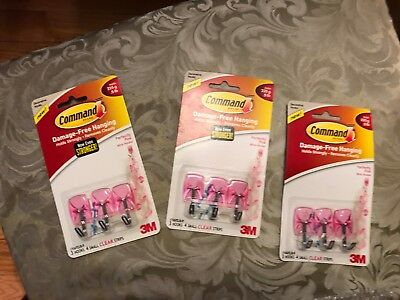 3M Command Damage-Free Hanging Decorative Metal Pink Hooks 9 ( 3 packs) strips