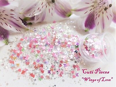 Nail Art *Wings of Love* Iridescent Pearlescent Hex Heart Butterfly Glitter Pot
