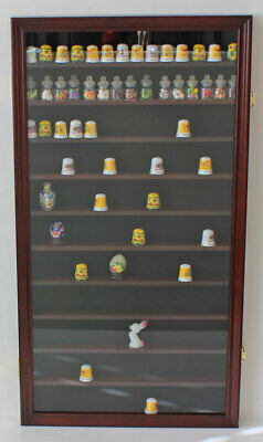 108 Thimble Display Case Wall Shadow Box with glass door, Solid Wood, TC10