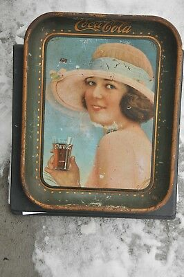 "Authentic 1921 Coca Cola Serving Tray Metal Sign ""Summer Girl"" Vintage Coke Sign"