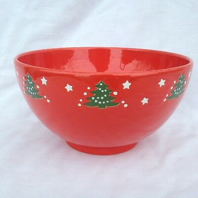 """7 1/2"""" Red Bowl in Christmas Tree by Waechtersbach in Excellent Condition 4"""" T"""