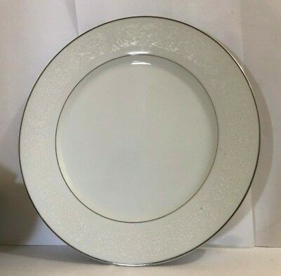 Carlton Plymouth Dinner Plate White Scrolls #303 Japan Platinum Trim 12'' ACROSS