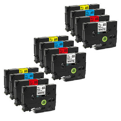 """1/2"""" TZ TZe 231 431 531 631 Compatible Label Tape for Brother P-touch 12mm 12PK"""