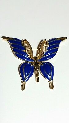 Vintage Signed Crown Trifari Blue Enamel Butterfly Gold Brooch Pin Excellent!