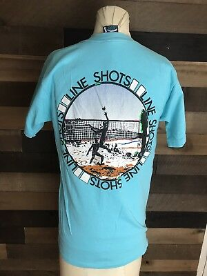 Lineshots Beach Volleyball Vintage Light Blue Singlestich Shirt Mens Med 80s