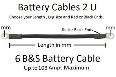 Ready Made 6 B&S Battery Cable Lead -100 to 2000 mm- Order length, Lug Size, + -