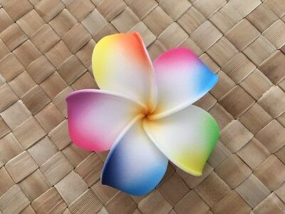8552df9c2 Hawaiian Plumeria Foam Flower Hair CLIP White Yellow Pink Blue Yellow  Rainbow