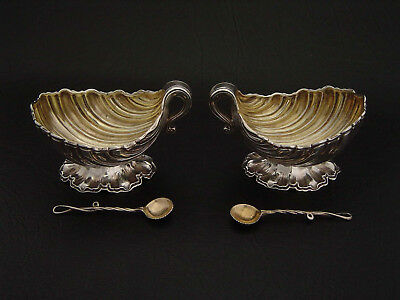 ANTIQUE GILT STERLING SILVER SHELL SALT CELLARS & SPOONS c1868; CRESWICK, LONDON