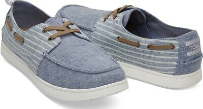 030bf159eba TOMS BLUE CHAMBRAY Stripe Men s Culver Boat Shoes -  30.00