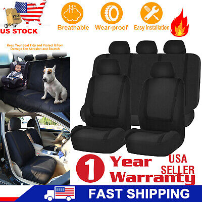 9Pcs Universal Car Seat Covers Front Rear Head Rests Full Set Auto Seat Cover US