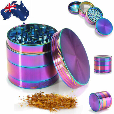 Metal Hand Herb GRINDER 4 Layers Rainbow Tobacco Smoke Muller 50mm Lid Pot Roll