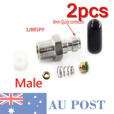 2pcs 8mm PaintballFill Nipple Stainless Steel 1/8BSPP Air Tank One Way Fitting