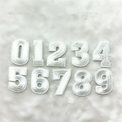 0~9 Silver Numbers Embroidered Patch Sewing Iron On Uniform Badge Shirt Applique