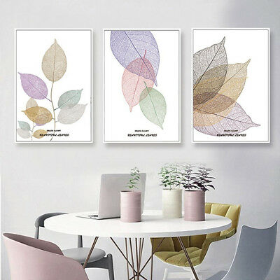 3 Piece Canvas Prints Set - Abstract Watercolor Leaves Botanical Art - Unframed