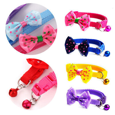 Pet Bowknot Necktie Collar Cute Bow Tie Bell Kitten Puppy Adjustable Dog Cat SL