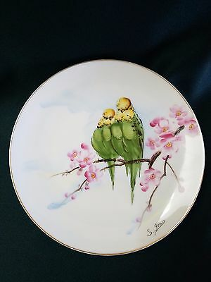 """VTG 8"""" Hand Painted Plate Green Budgies/Parakeets on a Cherry Blossom Branch"""