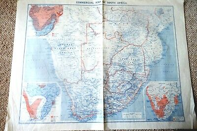 VINTAGE COMMERCIAL MAP OF SOUTH AFRICA by JOHN BARTHOLOMEW Pre 1919