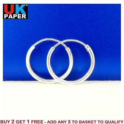 Girls 925 Sterling Silver 8mm -16mm Small Tiny Hinged Hoop Sleeper Earrings Pair