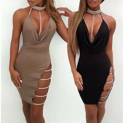 UK Women's Sexy Deep VNeck Halter Backless Choker Slit Sequin Bodycon Mini Dress
