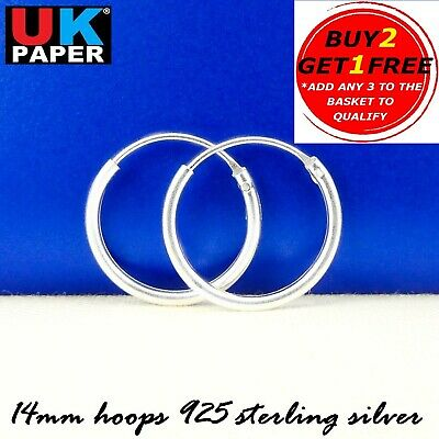 Solid 925 Sterling Silver 14mm Small Hoop Sleeper Earrings Stud Nose Rings Pairs