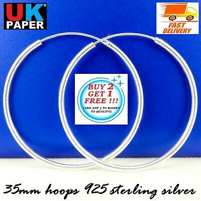925 Sterling Silver 35mm Hoop Sleeper Earrings Nose Solid Rings Stud Women Pairs