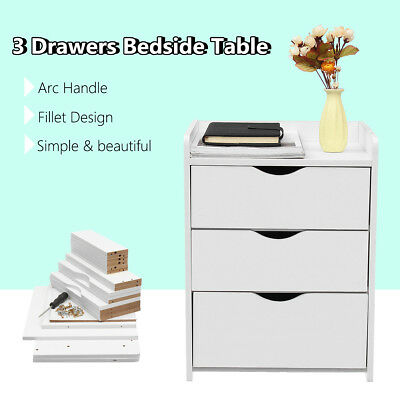 Bedroom Bedside Table 3 Drawers Table Nightstand Unit Cabinet Storage Side Table