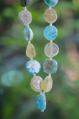 23 Pcs  Ancient Roman Glass Old Round Beads Patina Strand Necklace Color Random