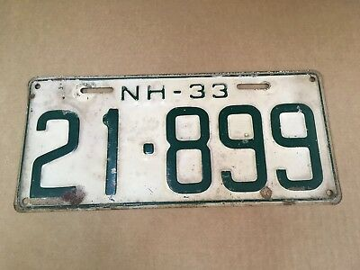 1933 New Hampshire License Plate Tag 21-899
