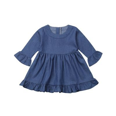 Denim Dress Baby Princess Girl Ruffle Clothes Long Sleeve Party Outfit Sundress