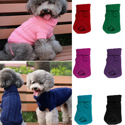 Small Pet Dog Cat Warm Knit Coat Puppy Sweater Jacket Winter Apparel Clothes CHK