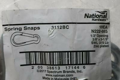 """Lot of 10 National Hardware N222-885 3/8x3-1/8"""" Spring Snap 3112BC 1/2"""" Opening?"""