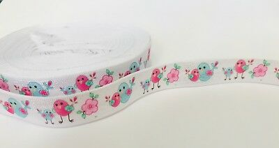 Bird Print Elastic, Fold Over Elastic, FOE, elastic by the yard