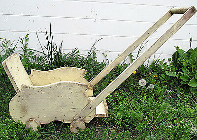 Old Vintage Wooden Baby Doll Stroller Carriage Buggy Toy Original White Painted