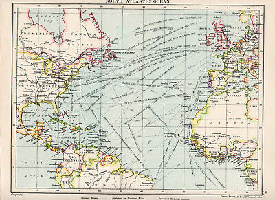 Map Of North Atlantic Ocean Nautical Seaports James Brown & Sons Glasgow