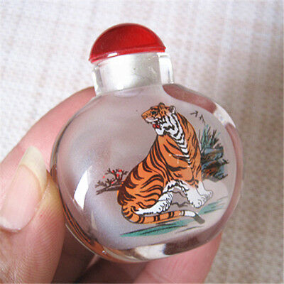 Chinese Exquisite Handmade horse pattern Glass snuff bottle 52g.