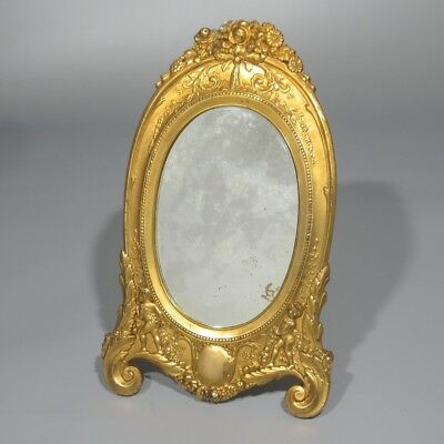 Antique French Gilded Spelter Footed Beveled Mirror, Putti, Cherub, 19th Century