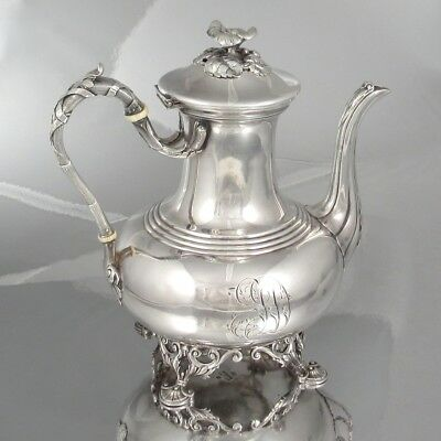 Antique French Silver Plate Cailar Bayard Tea Pot, Monogram, 19th Century