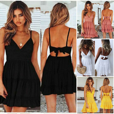 Womens Beach Strappy Dress Boho Lace Backless V-neck Holiday Clothes Party Dress